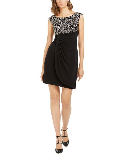 Connected Petite Glitter-Lace Sheath Dress