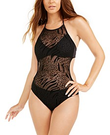 Halter Mesh-Overlay One-Piece Swimsuit