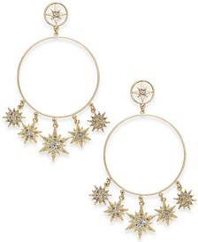 Gold-Tone Pavé Shaky Star Drop Hoop Earrings, Created For Macy's