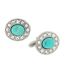 Jewelry Silver-Tone Oval Cufflinks