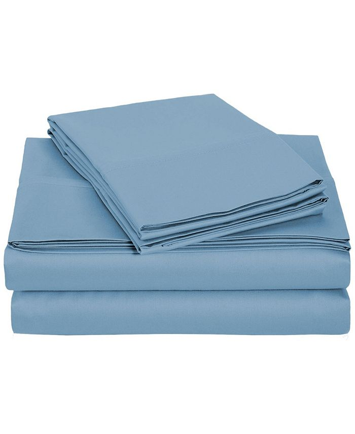 Universal Home Fashions - University 6 pc Blue Solid Queen Sheet Set