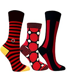 3 Pack Women's Socks Black and Red Bundle by