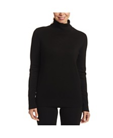Joseph A Solid Turtleneck with Button Cuff