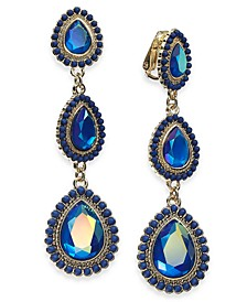 Gold-Tone Stone & Bead Clip-On Linear Drop Earrings, Created For Macy's