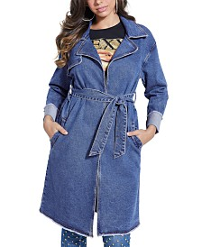 GUESS Belted Denim Trenchcoat