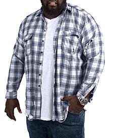 MVP Collections Men's Big & Tall Destructed Flannel Shirt