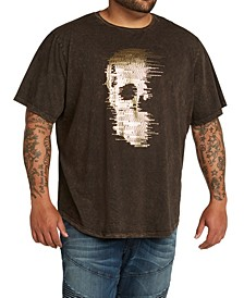 MVP Collections Men's Big & Tall Gold Foil Hi Lo Skull Tee