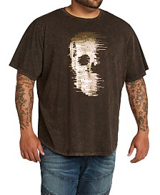 MVP Collections Men's Big & Tall Gold Foil Hi Lo Skull Tee