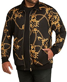 MVP Collections Men's Big & Tall Chain Print Bomber Jacket
