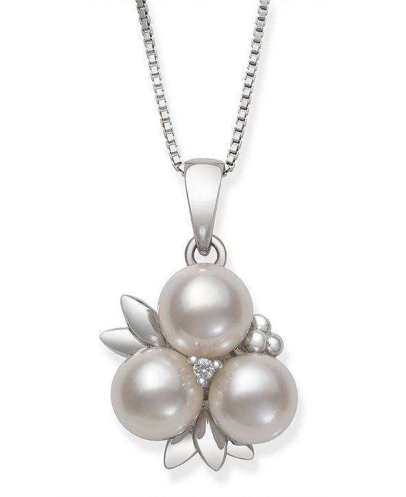 Macy's Cultured Freshwater Pearl (6-7 mm) and Diamond Accent Fruit Pendant in Sterling Silver