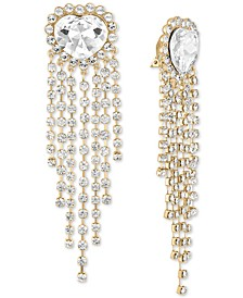 Gold-Tone Crystal Heart & Fringe Clip-On Statement Earrings
