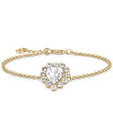Gold-Tone Crystal Heart Flex Bracelet