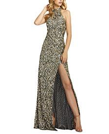MAC DUGGAL Halter Sequin Gown