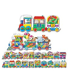 The Learning Journey Puzzle Doubles- Giant ABC and 123 Train Floor Puzzles