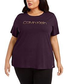 Plus Size Studded Logo T-Shirt