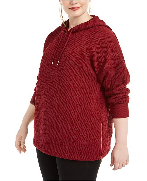 Ideology Plus Size Warm-Up Side-Zip Hoodie, Created For Macy's