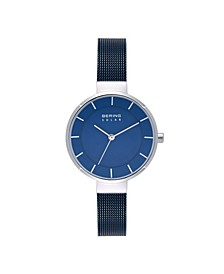 Women's Solar Powered Blue Stainless Steel Mesh Bracelet Watch 31mm