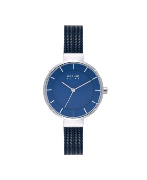 Women's Solar Powered Blue Stainless Steel Mesh Bracelet Watch 31mm
