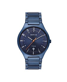 Men's Blue Titanium Bracelet Watch 39mm