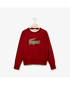Women's Long Sleeve All Over Croc Brush Fleece Sweatshirt