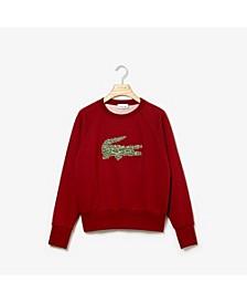 Women's Long Sleeve All Over Croc Brush Fleece Sweatshirt