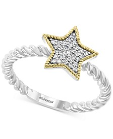EFFY® Diamond Star Ring (1/10 ct. t.w.) in Sterling Silver & 14k Gold-Plate