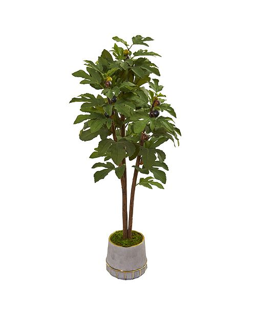 """Nearly Natural 47"""" Fig Artificial Tree in Stoneware Vase with Gold Trimming"""