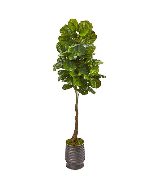 "Nearly Natural 69"" Fiddle Leaf Artificial Tree in Ribbed Metal Planter Real Touch"