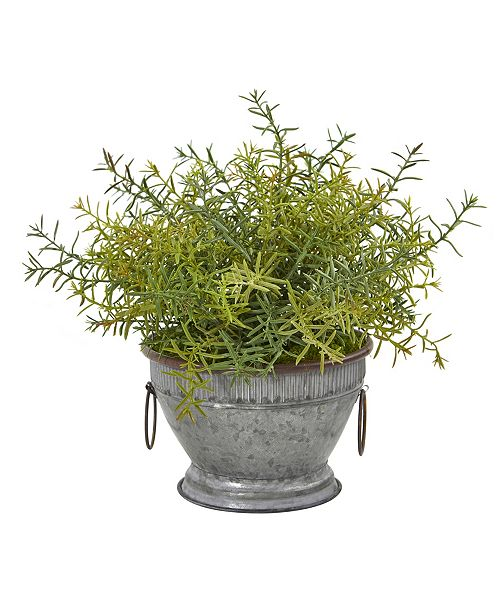 """Nearly Natural 14"""" Rosemary Artificial Plant in Vintage Metal Bowl with Copper Trimming"""