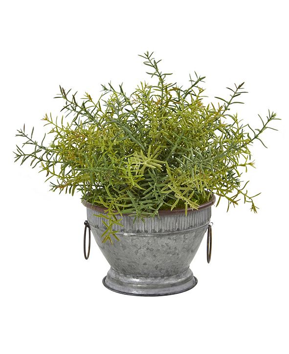"Nearly Natural 14"" Rosemary Artificial Plant in Vintage Metal Bowl with Copper Trimming"