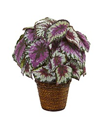 """17"""" Wax Begonia Artificial Plant in Basket"""