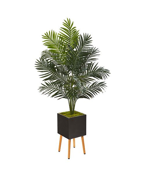 """Nearly Natural 65"""" Paradise Palm Artificial Tree in Black Planter with Stand"""