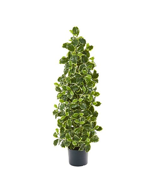 """Nearly Natural 39"""" Variegated Holly Leaf Artificial Tree Real Touch"""