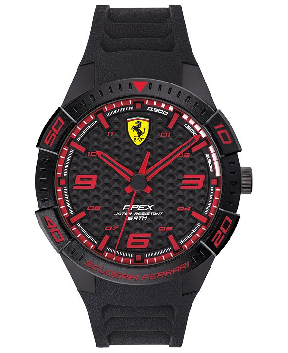 Ferrari Men's Apex Black Silicone Strap Watch 44mm