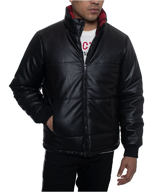 Sean John Men's Faux Leather Quilted Puffer Hipster Jacket with Buffalo Plaid Fleece Collar Trim