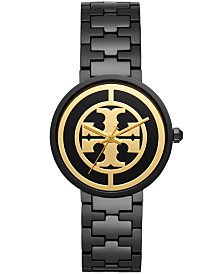 Tory Burch Women's Reva Black-Tone Stainless Steel Bracelet Watch 36mm