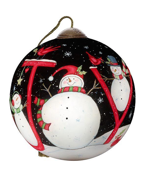 Ne'Qwa The Season Of Joy hand-painted blown glass Christmas ornament