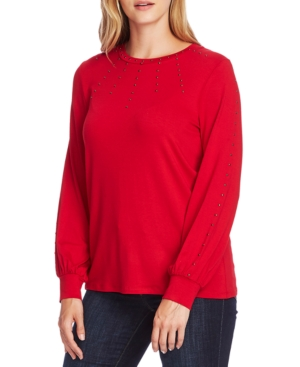Vince Camuto Tops STUDDED LONG-SLEEVE TOP