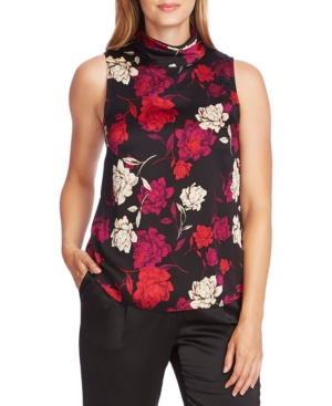 Vince Camuto Tops ENCHANTED FLORAL PRINTED MOCK-NECK SLEEVELESS TOP