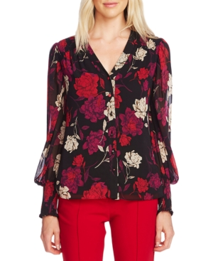 Vince Camuto Tops PRINTED SMOCKED BLOUSE