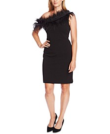 Asymmetrical Feather-Trim Sheath Dress