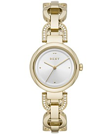 Women's Eastside Gold-Tone Pavé Stainless Steel Chain Bracelet Watch 30mm