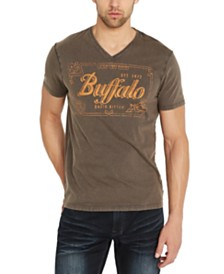 Buffalo David Bitton Men's Tuflag Logo Graphic V-Neck T-Shirt