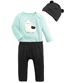 Baby Boys Llama Bodysuit, Quilted Pants & Quilted Hat, Created For Macy's