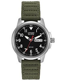 Citizen Eco-Drive Unisex Garrison Green Nylon Strap Watch 37mm