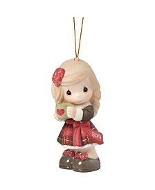 Precious Moments Have A Heart Warming Christmas Girl With Mug 2019 Dated Bisque Porcelain Christmas Ornament