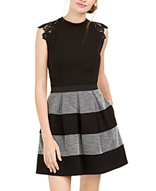 Juniors' Lace-Trim Striped Fit & Flare Dress