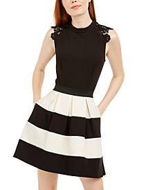 Juniors' Lace-Trim Shimmer Striped Dress