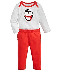 Baby Girls Penguin Bodysuit & Ruffled Bow Leggings, Created For Macy's