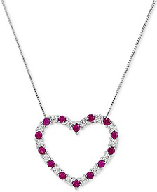 "Lab-Created Ruby (1-1/20 ct. t.w.) & White Sapphire (7/8 ct. t.w.) Heart 18"" Pendant Necklace in Sterling Silver"
